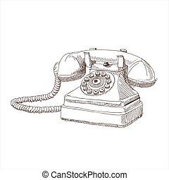 antigüidade, esboço, telefone, ilustração, mão, vetorial, desenho