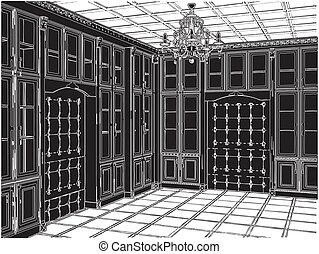 antigüidade, estante de livros, sala