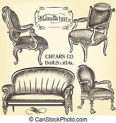 antigüidade, estilo, jogo, cadeiras, vindima, mão, vetorial, desenhado