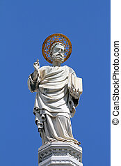 antigüidade, evangelista, estátua, marca