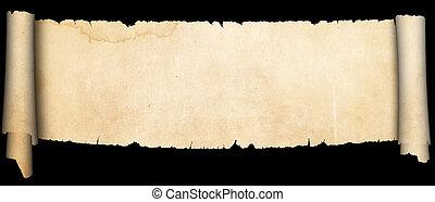 antigüidade, experiência., pretas, pergaminho, scroll