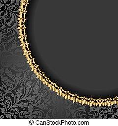 antigüidade, fundo, com, dourado, ornamentos