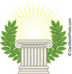 antigüidade, grego, coluna, e, verde, laurel.