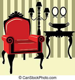 antigüidade, interior, com, vermelho, poltrona