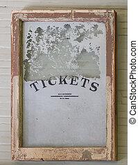 antigüidade, janela bilhete, sinal, de, trem, depot.