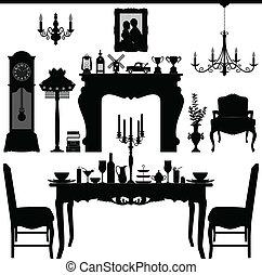 antigüidade, jantar, antigas, mobília