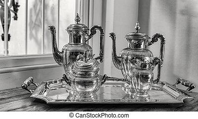 antigüidade, jogo chá, prata