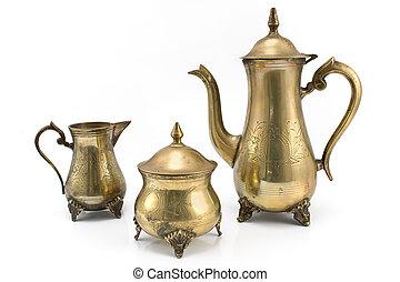 antigüidade, jogo, prata, teapots