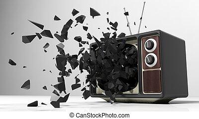antigüidade, jogo tevê, com, explodindo, screen., 3d,...