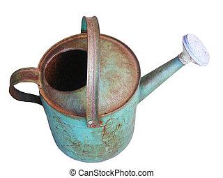 antigüidade, lata molhando, isolado