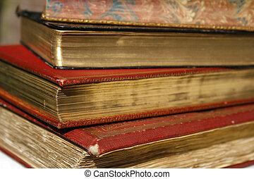 antigüidade, livros, com, dourado, revestimento