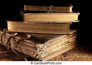 antigüidade, livros, empilhado
