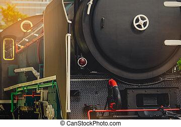 antigüidade, locomotive., antigas, industry., vindima, train., cima, motor, histórico, pretas, vehicle., fim, trem, transporte, vapor, história