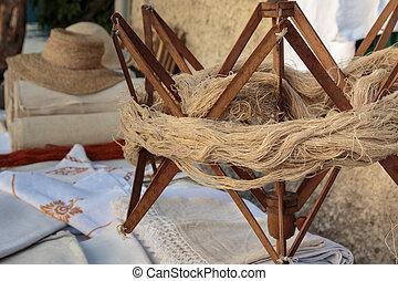 antigüidade, madeira, guarda-chuva, prontamente, para, fibras, hank