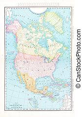 antigüidade, mapa cor, américa do norte, canadá, méxico, eua