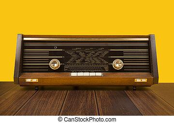 antigüidade, marrom, antigas, madeira, amarela, escuro, rádio, fundo, tabela