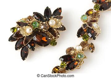 antigüidade, marrom, pulseira, brooch