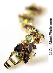 antigüidade, marrom, pulseira, ouro