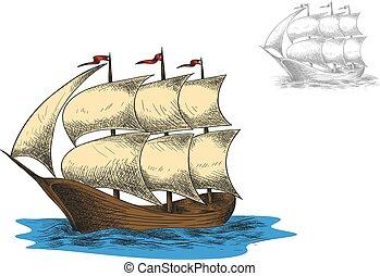 antigüidade, masted, velejando, barque, três, navio