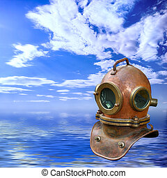 antigüidade, mergulhar, capacete, sobre, seascape