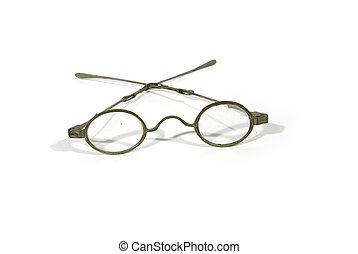 antigüidade, metal, óculos