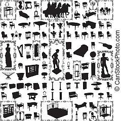 antigüidade, mobília, cem, vetorial