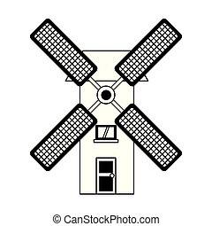 antigüidade, moinho, símbolo, vento