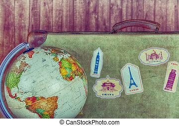 antigüidade, mundo, bola, mala