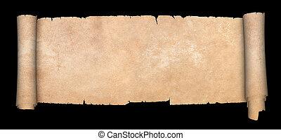 antigüidade, parchment., scroll