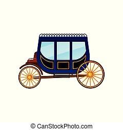 antigüidade, passageiros, vindima, ouro, transport., roxo, grande, apartamento, grande, carruagem, vetorial, vagão, táxi, horse-drawn, wheels., ícone