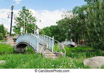 antigüidade, ponte, espetacular, parque, luzes, branca