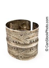 antigüidade, pulseira, prata