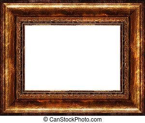 antigüidade, quadro, dourado, quadro, isolado, rústico, escuro