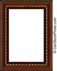 antigüidade, quadro, frame madeira, isolado, rústico