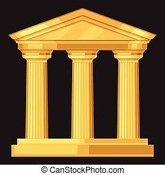 antigüidade, realístico, doric, grego, templo, colunas