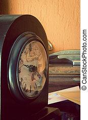 antigüidade, relógio, artisticos, toned