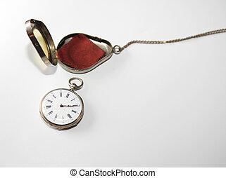 antigüidade, relógio bolso prateado
