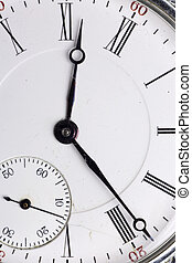antigüidade, relógio, isolado, bolso, fundo, branca