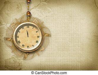 antigüidade, renda, relógio, face abstrata, fundo