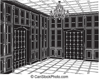 antigüidade, sala, estante de livros