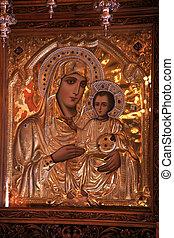 antigüidade, santissimo, mary, ícone, criança, ortodoxo, ...
