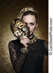 antigüidade, senhora, gótico, máscara