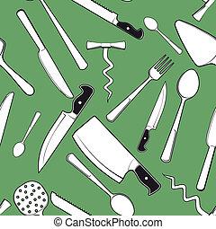 antigüidade, talheres, seamless, fundo, cozinha