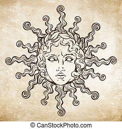 Grego Apollo Vetorial Ilustração Deus Antigüidade