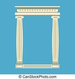 antigüidade, templo mármore, frente, com, ionic, colunas