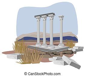 antigüidade, templo, ruínas