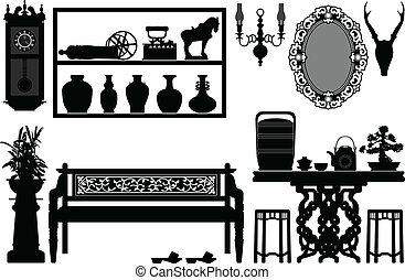 antigüidade, tradicional, antigas, mobília