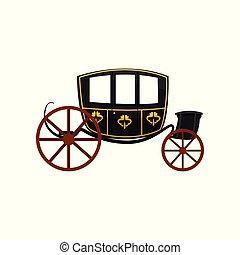 antigüidade, vagão, carruagem, ilustração, viajando, vetorial, retro, fundo, veículo, branca