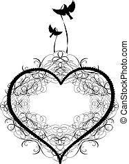 antigüidade, vectors, coração, ornamento