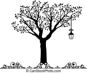 antigüidade, vectors, ornamento, árvore